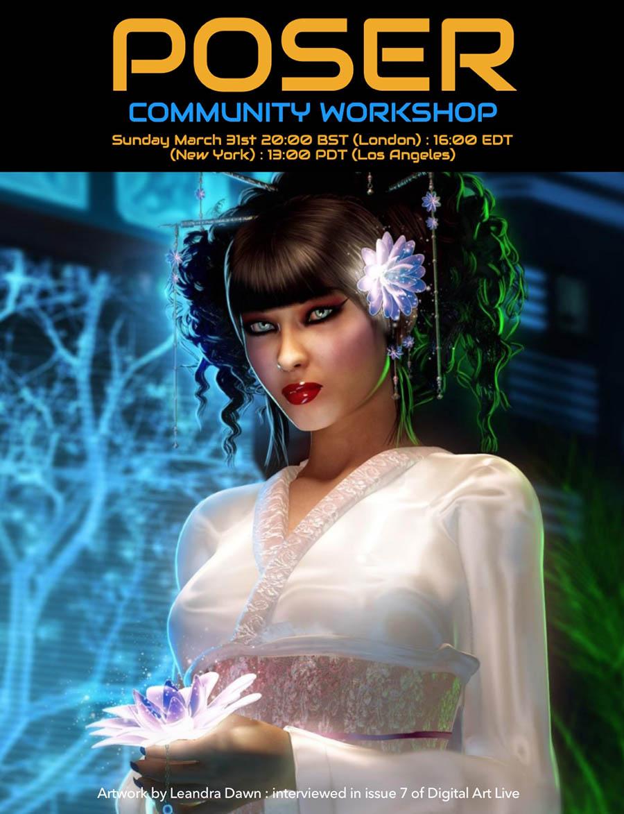 Poser Workshop - March 31st on Renderosity com